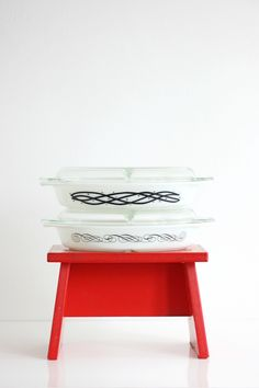 Vintage Pyrex Black Scroll Divided Casserole Dish