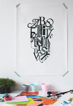 Ink letter - Poster -an Eye-catching Addition to Any Room. Whether you are interested in the art of typography or just admire beautiful art designs, you will love our ink letter poster. It brings together the entire English alphabet in orderly chaos with hand-printed letters. The letters comprise of both upper and lower case letters realized with stunning precision in an ink blot effect.