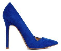 Escarpins en dain bleu roi pointues Asos