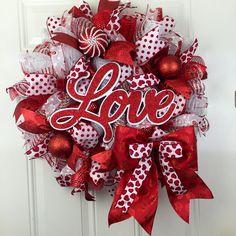 Love Valentine's Wreath, Deco Mesh Valentines Wreath, Valentines Deco Mesh Wreath, Love Deco Mesh Wreath, Valentine's Wreath by RhondasCre8iveCorner on Etsy