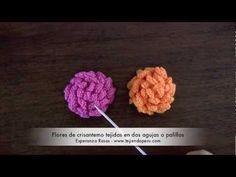 ▶ Flor de crisantemo tejida en dos agujas o palillos (knitted crisantemo flower) - YouTube