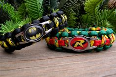 Batman and Robin Paracord Bracelets Custom by knotcreations, $17.00