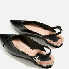 Zara Faux Fur Slingback Flats Ref:7260/101 Size 9