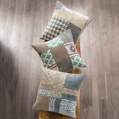 Block Print and Stone Wash Patchwork Pillow Covers