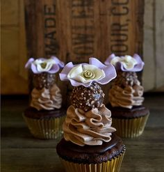 Beautiful Lilac Ombre Flower Cupcake Topper