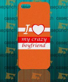 Mz4-i Love My Crazy Boyfriend Valentine Humor For Iphone 6 6 Plus 5 5s Galaxy S5 S5 Mini S4 & Other Smartphone Hard Back Case Cover