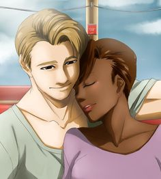 Interracial couple illustration