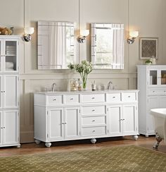 Home Decorators Collection Hampton Harbor 25 in. W x 14 in. D x in. H Linen Storage Cabinet with 4 Doors in White 4772910410 at The Home Depot - Mobile Linen Storage Cabinet, Cabinet Drawers, Laundry Storage, Bathroom Storage, Double Bath, Double Vanity, Linen Cabinets, Bathroom Styling, Bathroom Ideas
