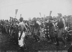 King Tawhiao's soldiers performing at his tangi - Photograph taken by Enos Pegler, 24 September 1894 King Tawhiao died 26 August 1894 at Parawera. He was buried at Taupiri after a tangi in September. On 24 September the tangi was open to pakeha visitors. Once Were Warriors, Polynesian People, Maori People, 24 September, Maori Art, New Zealand, Culture, Dance, Black And White