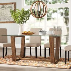 Chic Forestville Dining Table by Darby Home Co kitchen dining furniture sale from top store Dinning Table Design, Dining Table Sale, Glass Dining Room Table, Rectangle Dining Table, Trestle Dining Tables, Solid Wood Dining Table, Oval Table, Kitchen Dining, Traditional Dining Tables