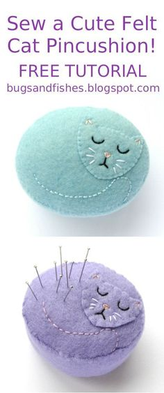 Today I'm sharing a tutorial for all you cat fans: how to make a sweet felt pincushion in the shape of a sleeping kitty!      This project o... #catsdiyhowtomake