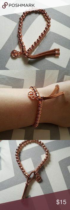 Michael Kors Copper Bead and Leather Braclet Michael Kors Copper Bead and Brown Leather Braclet Michael Kors Jewelry Bracelets