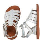 Updated with shiny silver, these classic gladiators are a must have for her warm-weather looks. Wear them with shorts or skirts for a look she'll love!