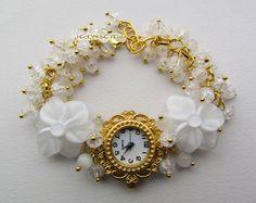 """Купить """"Невеста"""" наручные часы с бусинами лэмпворк - белый, часы, часики, женские часы"""