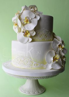 Mellow Yellows and Phalaenopsis Blooms - by CakeCanvas @ CakesDecor.com - cake decorating website