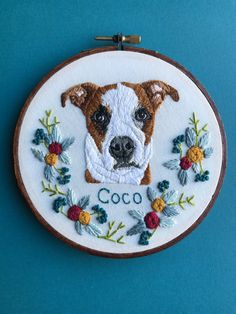 35e156967a52 Embroidered Pet Portrait Custom Pet Portrait Embroidery Hoop Art Hand Embroidered  Personalized Embroidery by Hoffelt and Hooper Co