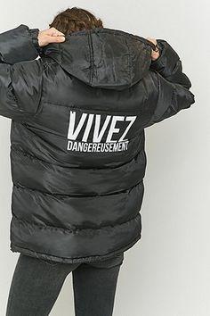 Urban Renewal Vintage Customised Slogan Black Puffer Jacket - Urban Outfitters