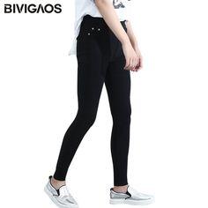 a9ac899df50e5 BIVIGAOS Spring Fashion Womens Casual Skinny Leggings Slim High Elastic  Pocket Pencil Pants Woven Leggings For Women Jeggings