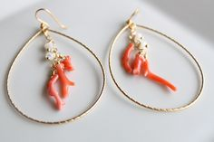Genuine Coral With Mother of Pearl on 16 kt. gold plated hoop
