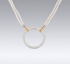 Necklaces   Janis Kerman Design   STERLING SILVER 18KT YELLOW GOLD BLACK DIAMONDS CULTURED PEA