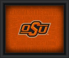 """Oklahoma State University """"College Logo Plus Word Clouds"""" - 15 x 18 Framed Print"""