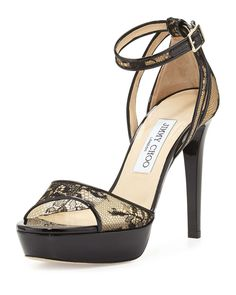 Jimmy Choo Kayden Lace Platform Sandal, Black