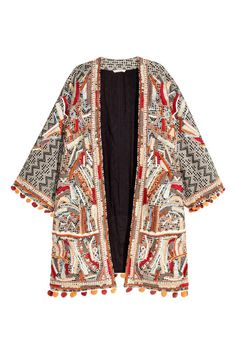 Beaded jacket: Jacket in jacquard-weave cotton with beaded embroidery and an embroidered pattern on the front, sleeves with pompom fringes at the cuffs and hem, and no buttons. Beaded Jacket, Fringe Jacket, Embroidered Jacket, Kimono Jacket, H&m Jackets, Line Jackets, Jackets For Women, Outerwear Jackets, Ladies Jackets