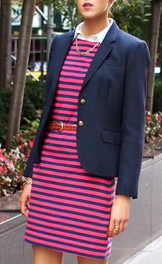 Red & navy striped dress, navy blazer, LE navy ballet flats (The Classy Cubicle) Corporate Wear, Professional Dresses, Professional Women, Office Fashion, Work Fashion, Australian Style, Classy Cubicle, Preppy Style, My Style