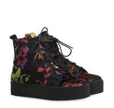 ΜΠΟΤΑΚΙΑ ΓΥΝΑΙΚΕΙΑ SAGIAKOS (BLACK FLOWER) Wedges, Flower, Boots, Black, Women, Fashion, Shearling Boots, Moda, Black People
