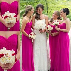 Chiffon Bridesmaid Dresses Fuschia Hot Maid of Honor Sexy Long Beach Bridesmaids Gowns Cheap Plus Size for Wedding Guest Maid of Honor Wear
