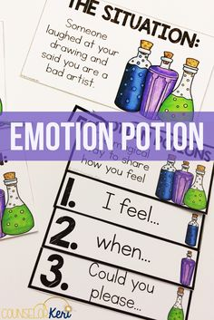 In this school counseling classroom guidance lesson, students learn the magic formula for expressing emotions! Practice making I-feel statements, describing the scenario, and asking for what you need. Play s movement-based game and create a flip book for Elementary School Counselor, School Counseling, Elementary Schools, Virtual Counselor, Counselor Office, Group Counseling, Social Emotional Learning, Social Skills, Social Practice