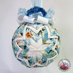 Daisies and Butterflies Quilted Christmas Ornament