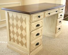Hand painted office desk makeover. | PAINTED FURNITURE INSPIRATION