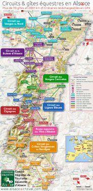 Carte des circuits de randonnée équestre en Alsace