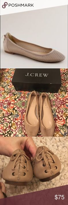 J.Crew Leather Perforated Ballet Flats EUC-only worn once outside! Near perfect condition just light wear on soles. These 100% leather, Italian made Flats are crafted of perforated leather in tawny sand, which is like a light beige or tan. They have lace and bow detailing on back of shoe. I bought these because they were the last pair left in this color but they are half a size to small. I've owned this shoe in 4 other colors, had worn them all the time. Super comfy for spring and summer. J…