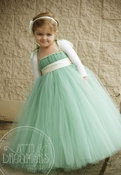 flowergirl - mint green tutu dress with a navy sash