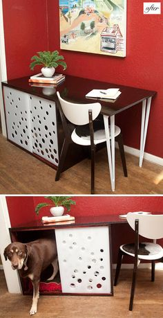 interesting hack using a dog crate and desk. this is a great idea for a small space!