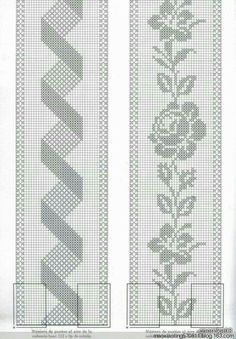 If you looking for a great border for either your crochet or knitting project, check this interesting pattern out. When you see the tutorial you will see that you will use both the knitting needle and crochet hook to work on the the wavy border. Crochet Table Runner Pattern, Crochet Bedspread Pattern, Crochet Curtains, Crochet Tablecloth, Tapestry Crochet, Filet Crochet Charts, Crochet Borders, Crochet Motif, Crochet Designs