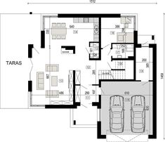 Projekt domu DN 021g 207,12 m² - koszt budowy - EXTRADOM Curved Staircase, Double Garage, House Plans, Floor Plans, Flooring, How To Plan, Modern Homes, Claire, Two Story Houses