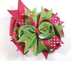 Boutique Pink Brown Monkey Hair Bow Clip Hair by prettybowtique, $6.50