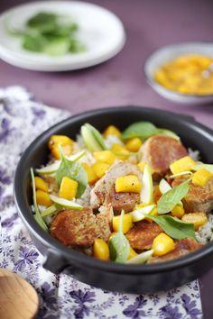 Filet mignon de porc à la mangue et pomme verte