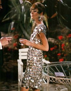 Audrey Hepburn wears a Paco Rabanne dress in the movie 'Two for the Road' filmed in 196