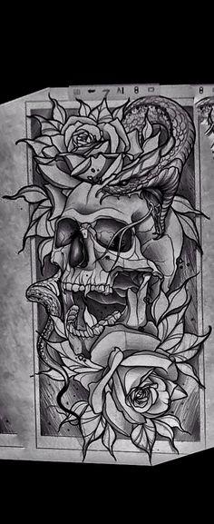 Skull Tattoos, Leg Tattoos, Body Art Tattoos, Sleeve Tattoos, Cool Tattoos, Tattoo Sketches, Tattoo Drawings, Future Tattoos, Tattoos For Guys
