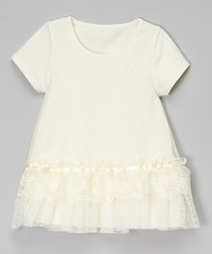 Loving this Ivory Lace Overlay Tunic - Infant, Toddler & Girls on #zulily! #zulilyfinds