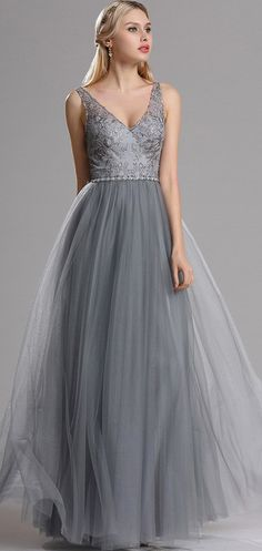 eDressit Plunging V Neck Lace Prom Evening Dress