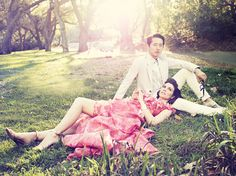 On AMC's The Walking Dead, Steven Yeun and Lauren Cohan play lovers Glenn and Maggie. We imagine the hopeful couple before the zombie apocalypse, in a sun-dappled park, dressed in spring's lively florals and subtle pastels. (Spring Fashion 2014 - Los Angeles Magazine)