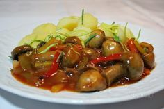 žampiónová soté Healthy Balanced Diet, Food Swap, Diet Plan Menu, Heart Healthy Recipes, Meal Planner, Stuffed Mushrooms, Good Food, Food And Drink, Vegetarian