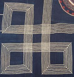 African robe (detail) made from slim strips of cotton woven on a narrow loom and dyed indigo.