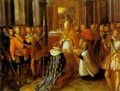 27 février 1594 - Henri IV est sacré à Chartres - Au début de 1594, Henri IV assiège avec succès Dreux puis il est sacré le 27 fév 1594 en la cathédrale de Chartres: il est l'un des 3 roi de France sacrés ailleurs qu'à Reims ou Paris, qui étaient en effet tenus par la Ligue.