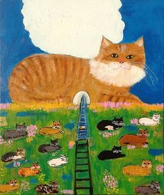 Illustration by pepe shimada, Mountain of a cat. I Love Cats, Crazy Cats, Cute Cats, Chat Web, Art Fantaisiste, Son Chat, Art Et Illustration, Cat Colors, Japanese Artists